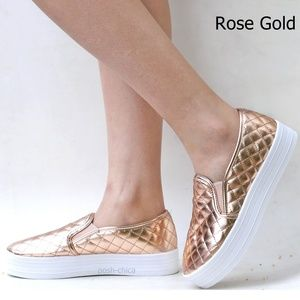 New Rose Gold Quilted Slip On Platform Sneakers